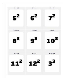 Exponents Printable Flash Cards