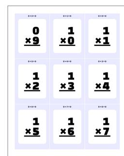 Multiplication Printable Flash Cards