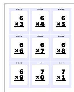 Multiplication Worksheet Flashcards 1