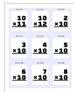 Multiplication x10, x11, x12 Printable Flash Cards