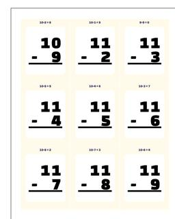 Subtraction Worksheet Flashcards 1