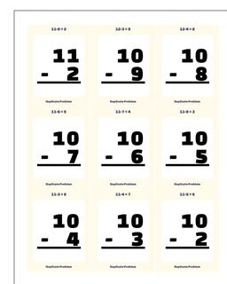 Subtraction Worksheet Flashcards 2