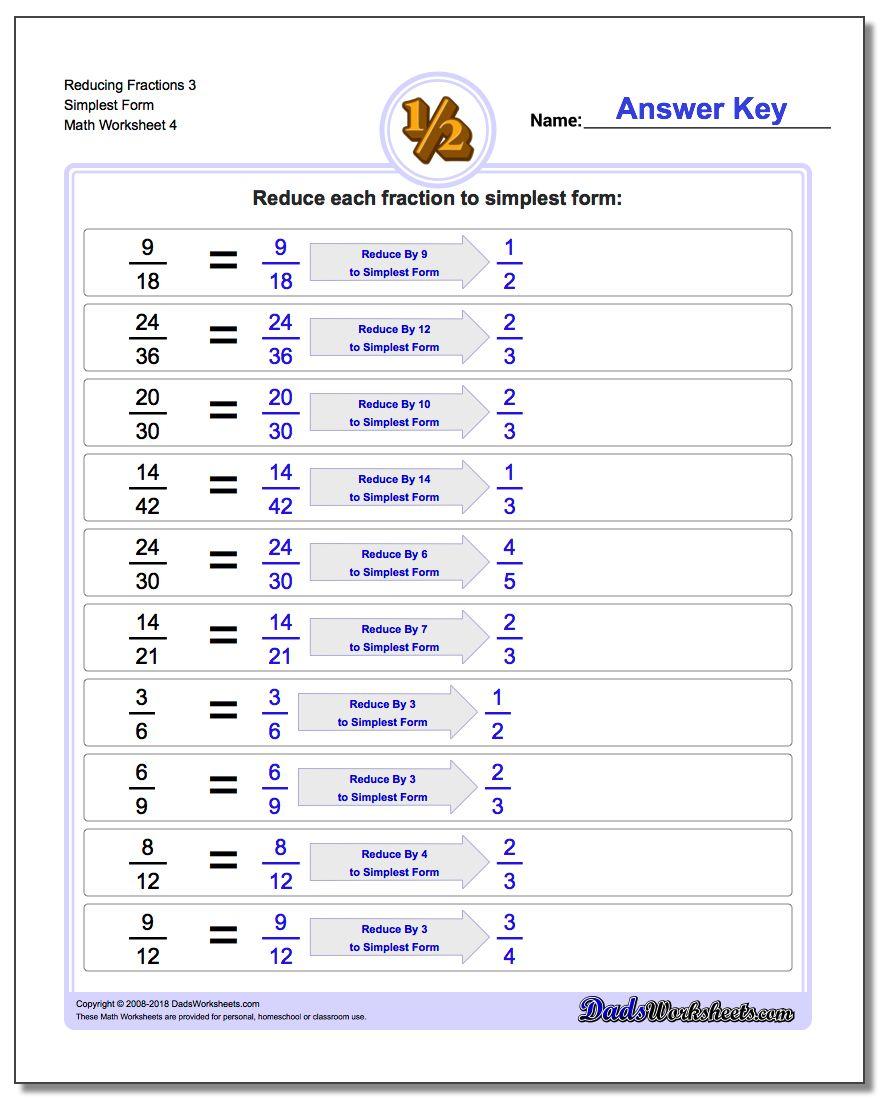 Reducing Fraction Worksheets 3 Simplest Form Worksheet