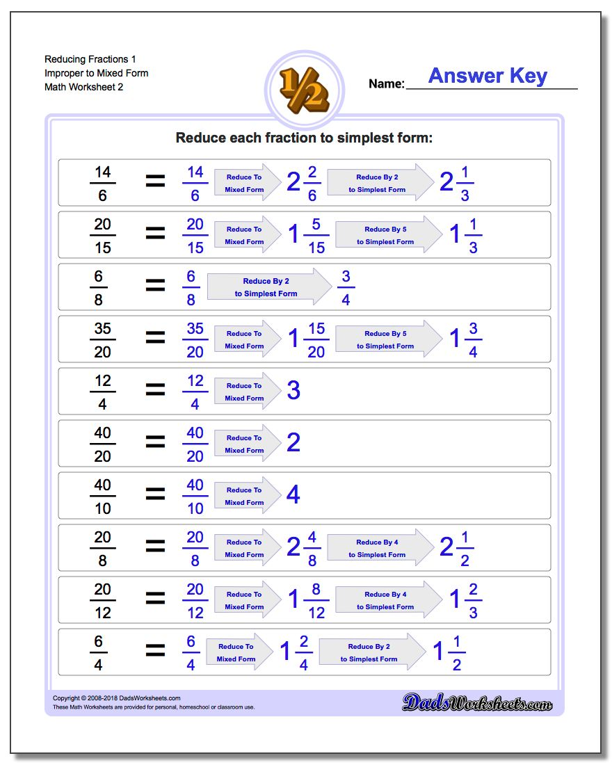 Reducing Fraction Worksheets 1 Improper to Mixed Form Worksheet www.dadsworksheets.com/worksheets/reducing-fractions.html