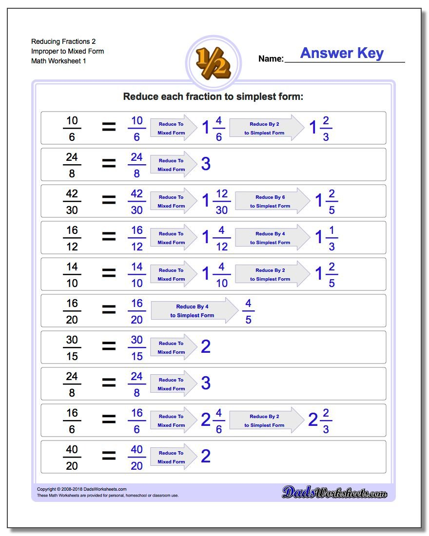 math worksheet : reducing improper fractions : Mixed Numbers And Improper Fractions Worksheet