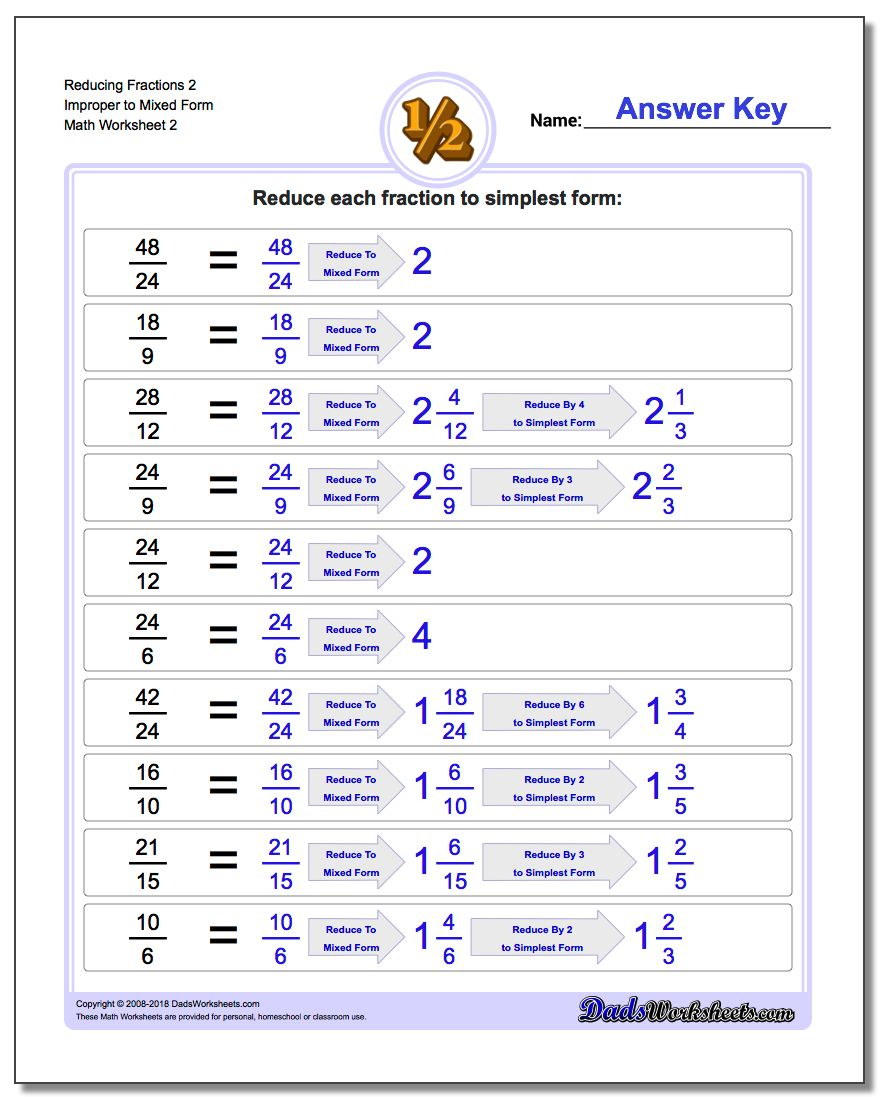 Reducing Fraction Worksheets 2 Improper to Mixed Form Worksheet www.dadsworksheets.com/worksheets/reducing-fractions.html