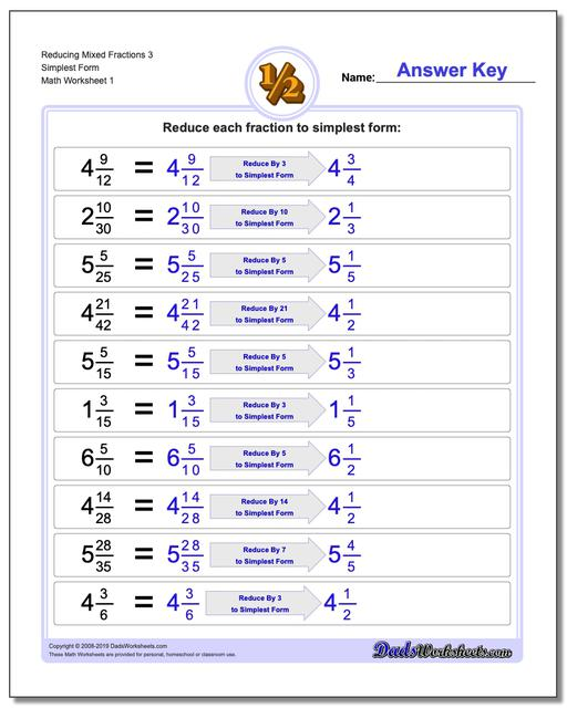 Reducing Fraction Worksheets Mixed 3 Simplest Form Worksheet