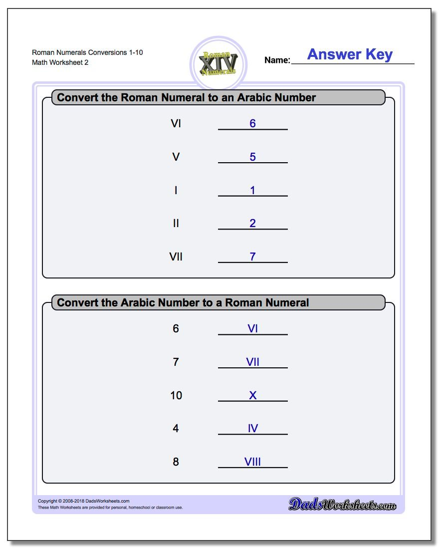 Roman Numerals Conversion Worksheets 1-10 www.dadsworksheets.com/worksheets/roman-numerals.html
