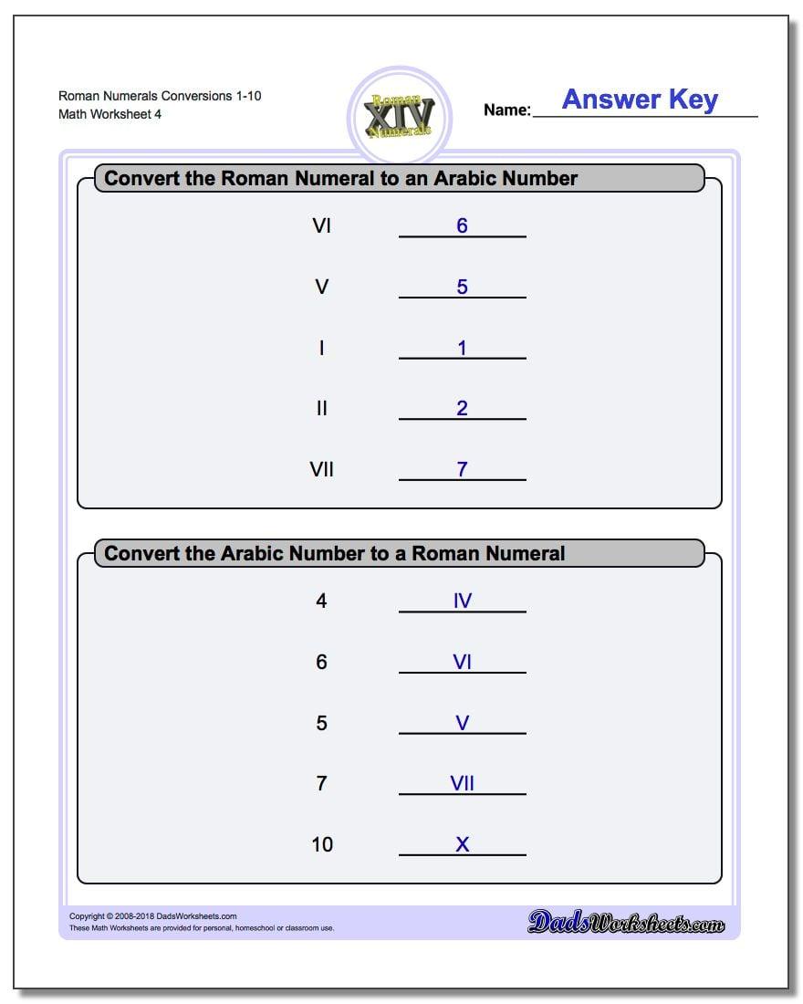 Roman Numerals Conversion Worksheets 1-10