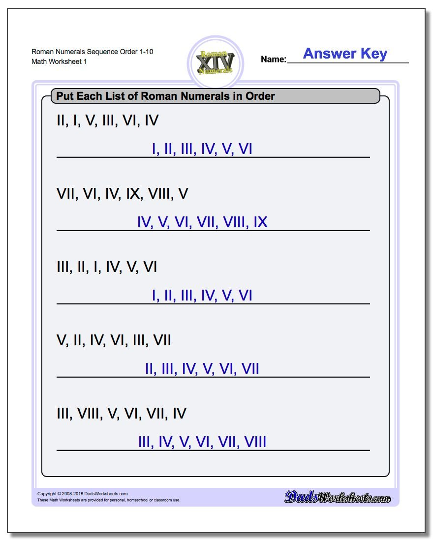 Roman Numerals Numeral Ordering (Sequential) Worksheet