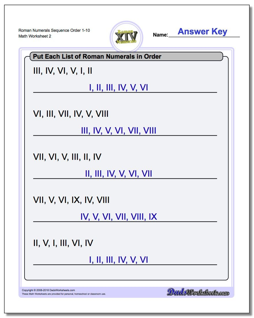 Roman Numerals Sequence Order 1-10 www.dadsworksheets.com/worksheets/roman-numerals.html Worksheet