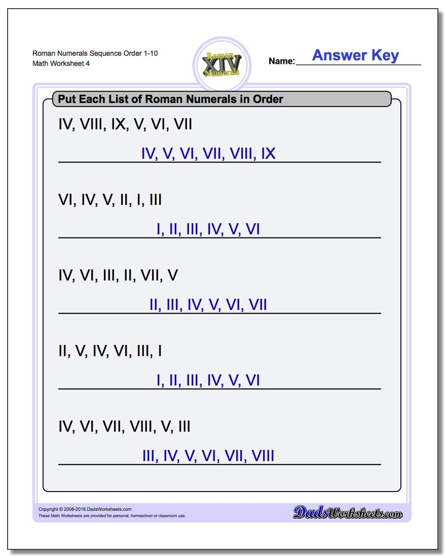 Roman Numerals Sequence Order 1-10 Worksheet