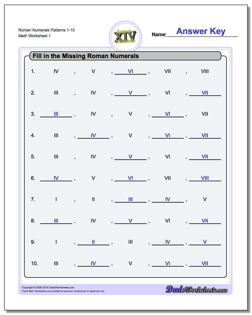Roman Numerals Numeral Patterns Worksheet