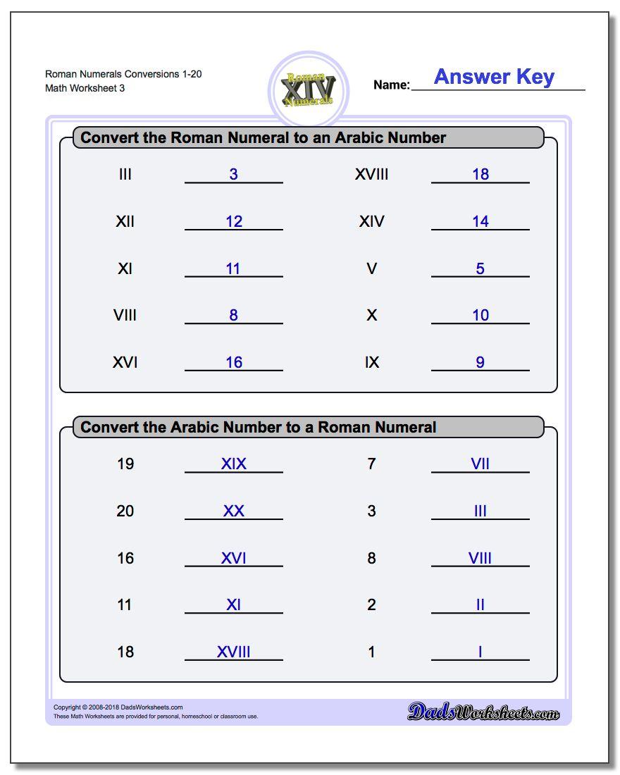 Roman Numerals Conversion Worksheets 1-20