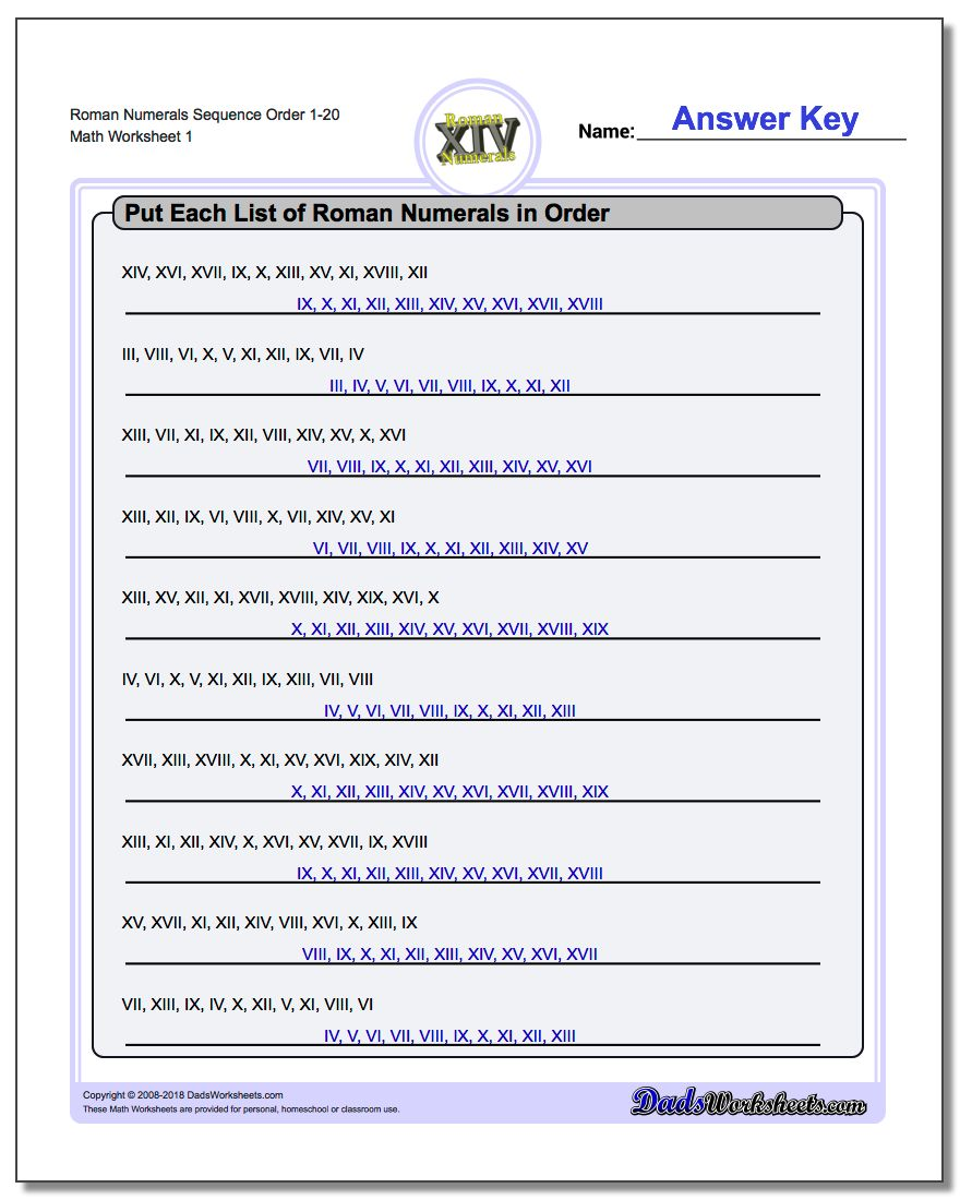 Roman Numeral Ordering Sequential – Sequential Order Worksheets