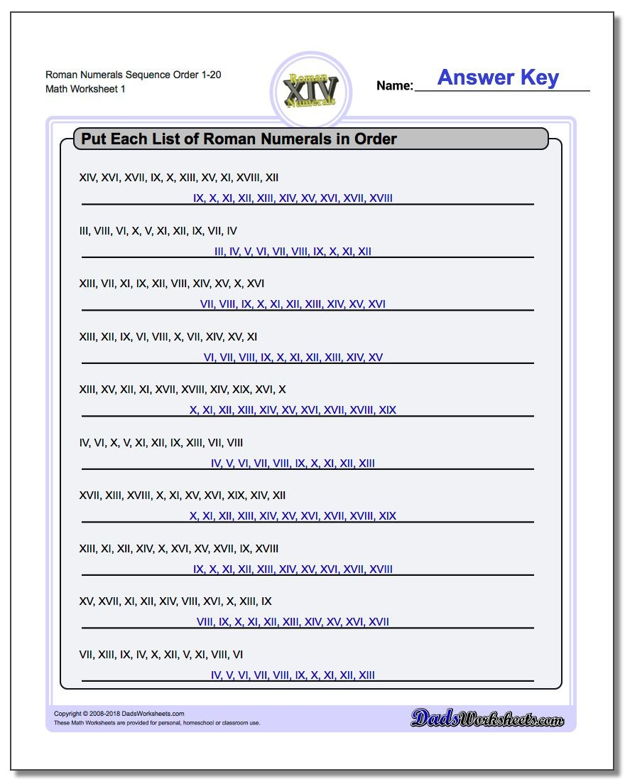 Roman Numerals Sequence Order 1-20 Worksheet