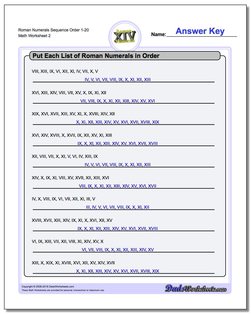 Roman Numerals Sequence Order 1-20 www.dadsworksheets.com/worksheets/roman-numerals.html Worksheet