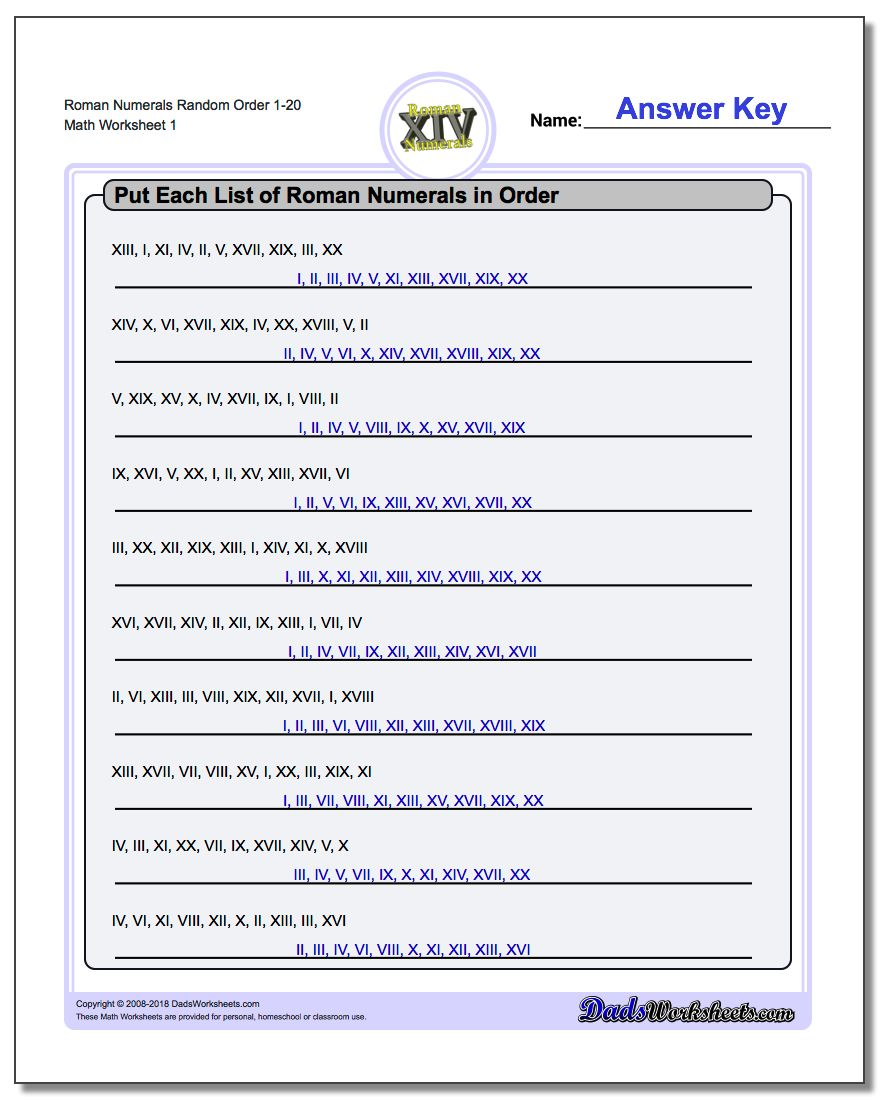 Roman Numerals Random Order 1-20 Worksheet