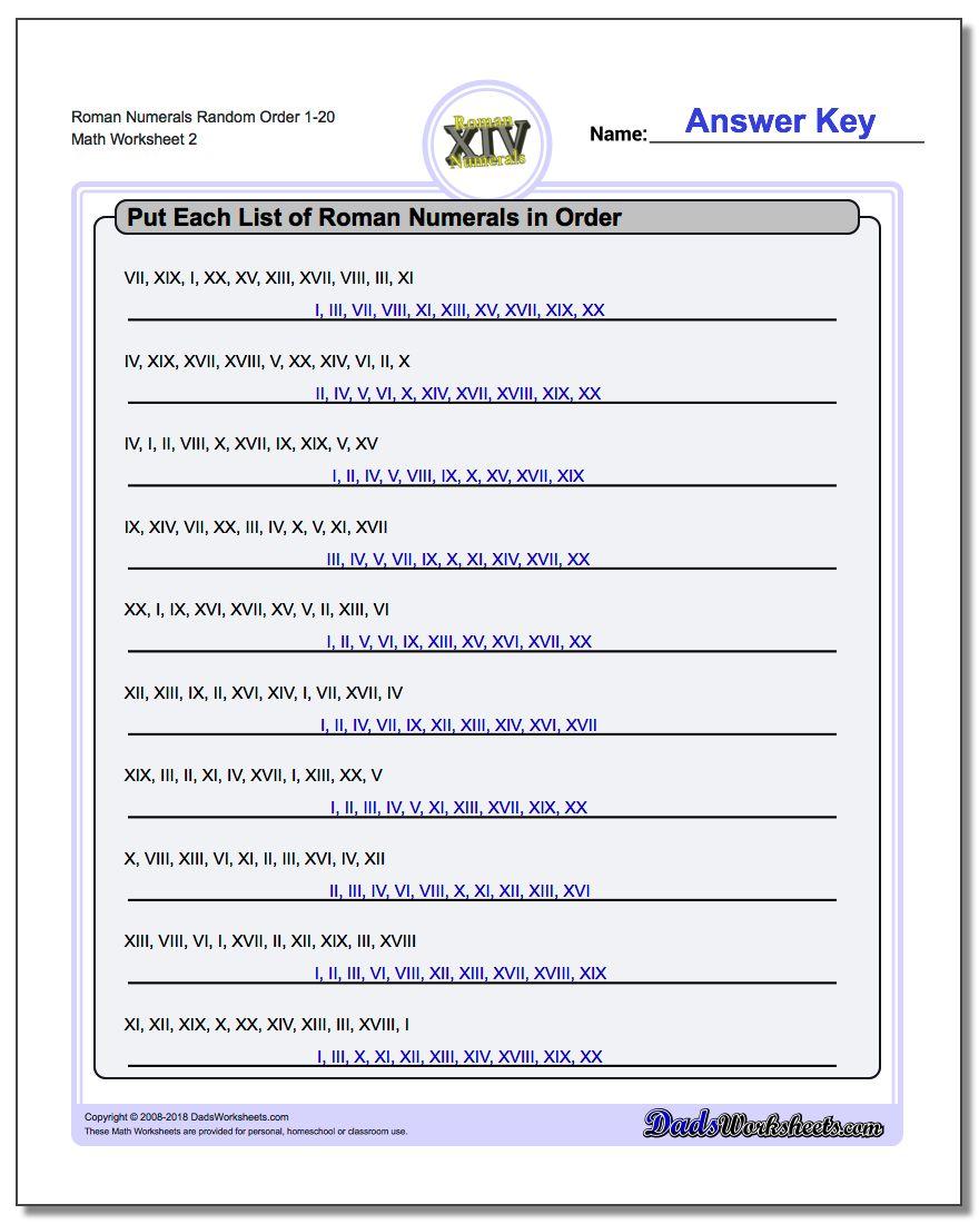 Roman Numerals Random Order 1-20 www.dadsworksheets.com/worksheets/roman-numerals.html Worksheet