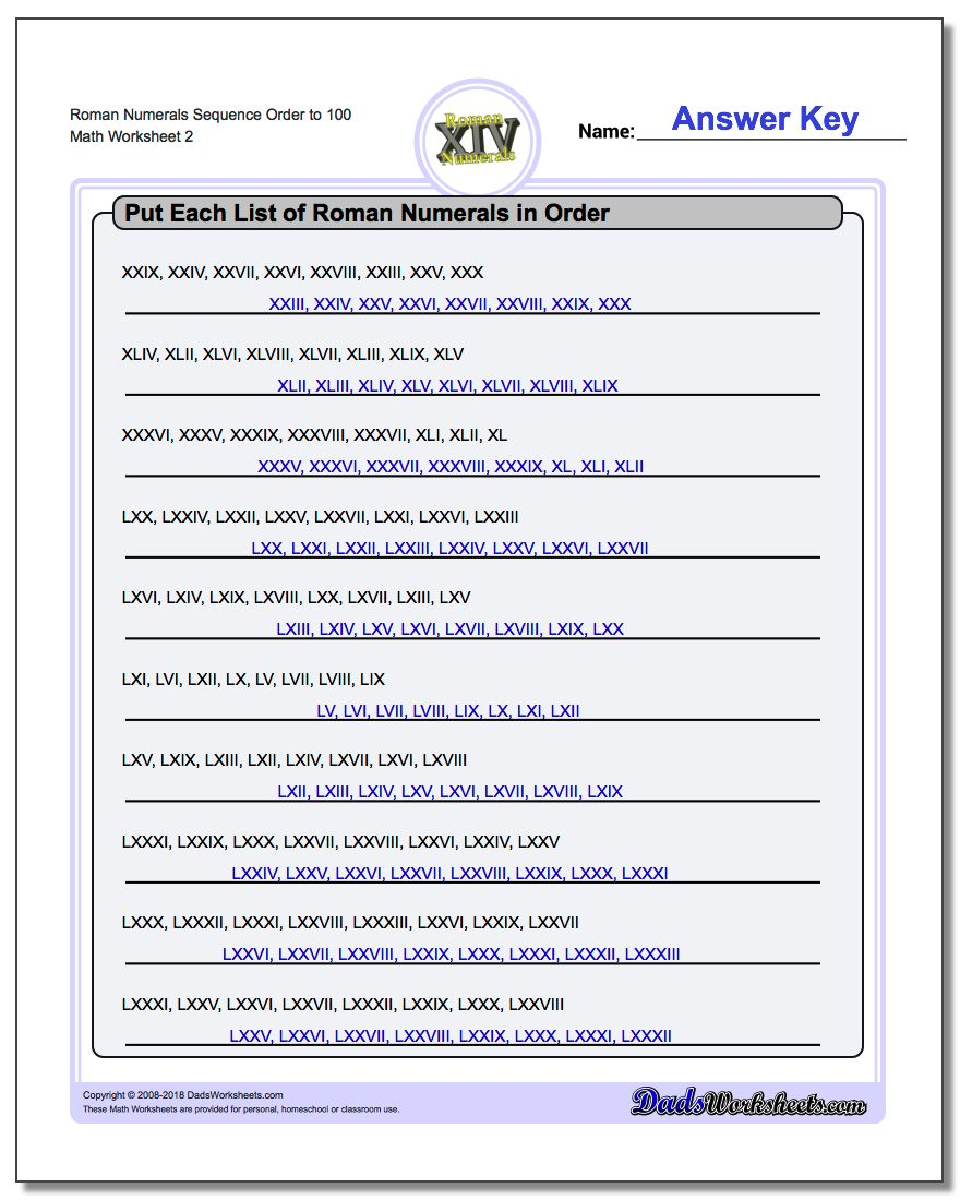 Roman Numerals Sequence Order to 100 www.dadsworksheets.com/worksheets/roman-numerals.html Worksheet