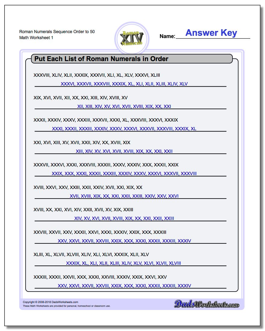 Roman numerals calculator - Roman Numerals Sequence Order To 50 Worksheet