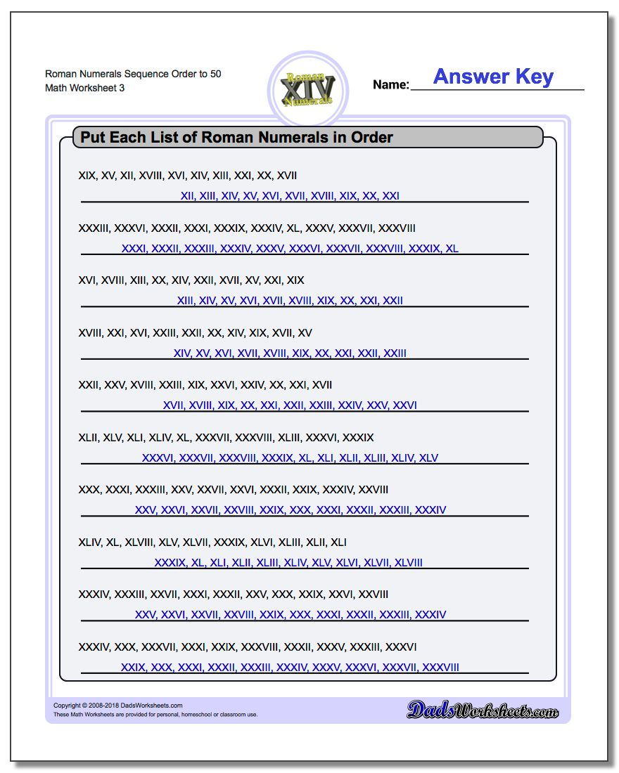 Roman Numerals Sequence Order to 50 Worksheet