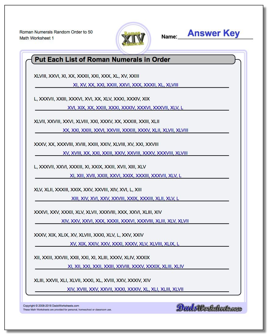 Roman Numerals Random Order to 50 Worksheet