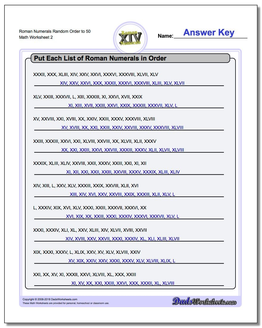 Roman Numerals Random Order to 50 www.dadsworksheets.com/worksheets/roman-numerals.html Worksheet