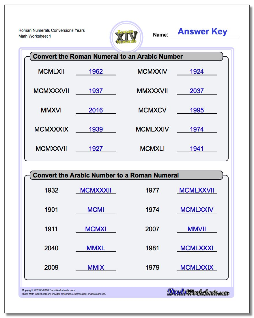 worksheet Roman Numerals Worksheet roman numeral worksheets numerals conversion years