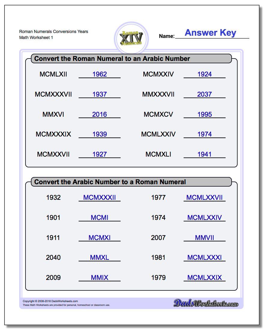 roman numeral worksheets. Black Bedroom Furniture Sets. Home Design Ideas