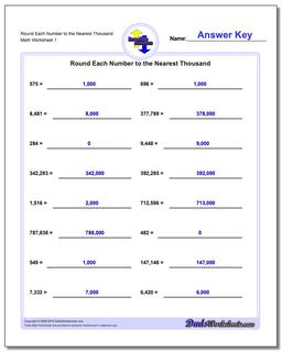 Round Each Number to the Nearest Thousand Rounding Numbers Worksheet