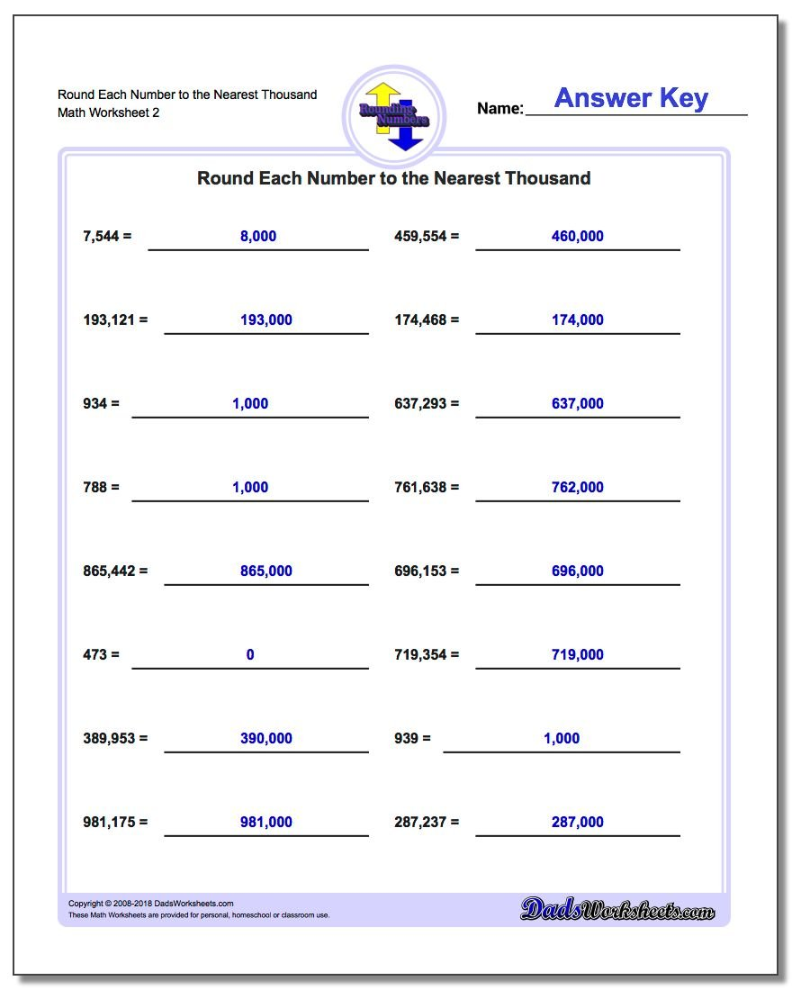 Round Each Number to the Nearest Thousand www.dadsworksheets.com/worksheets/rounding-numbers.html Worksheet