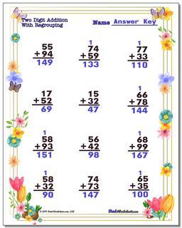 Spring Addition Worksheet