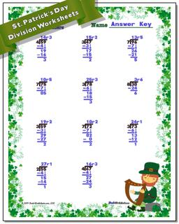 St. Patrick's Day Division Worksheet #St #Patricks #Day #Worksheet