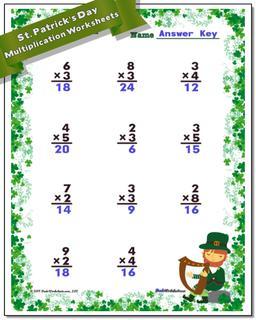 St. Patrick's Day Multiplication Worksheet #St #Patricks #Day #Worksheet
