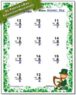 St. Patrick's Day Subtraction Worksheet #St #Patricks #Day #Worksheet