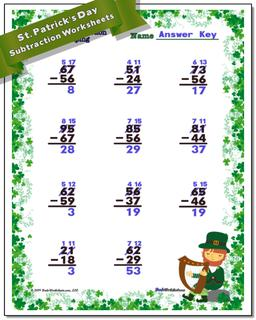 St. Patrick's Day Subtraction Worksheet #St #Patricks #Day #Worksheet