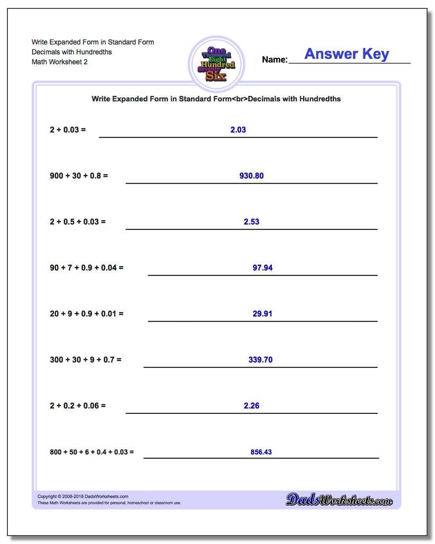 Write Expanded Form Worksheet in Standard Form Decimals with Hundredths www.dadsworksheets.com/worksheets/standard-expanded-and-word-form.html