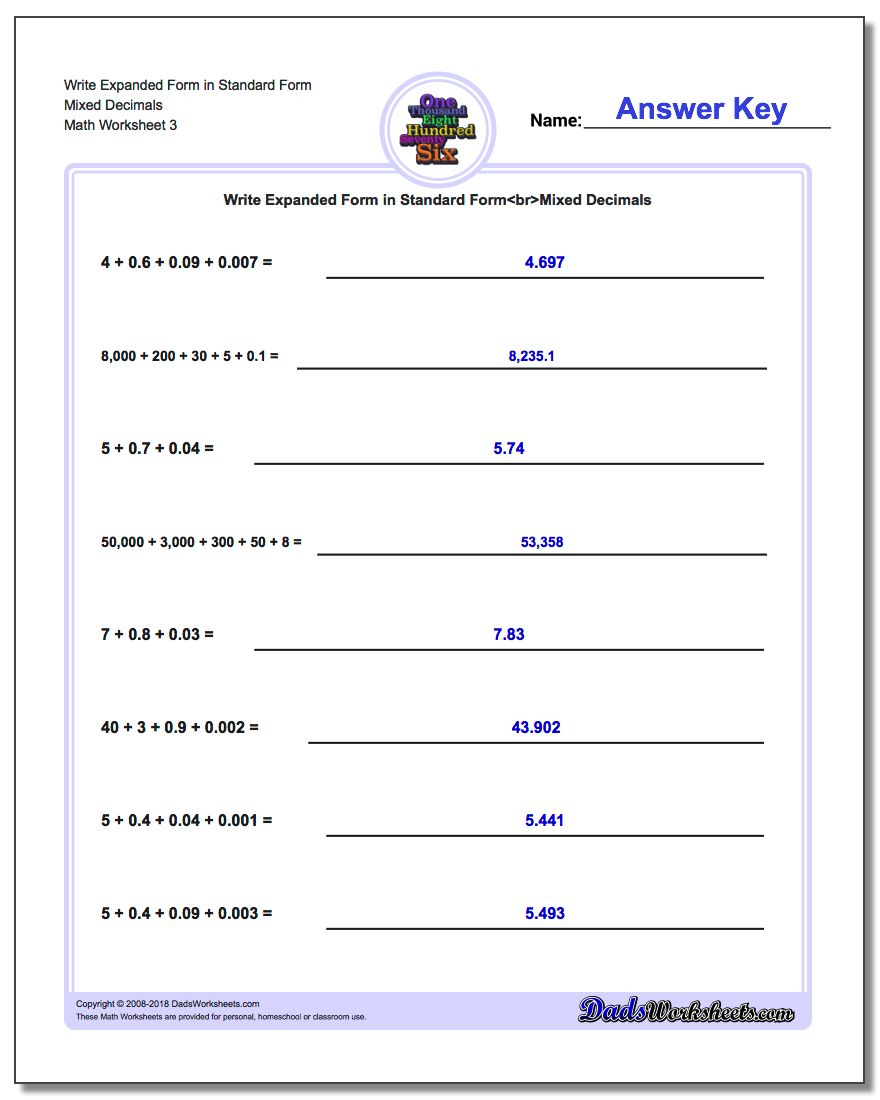 Write Expanded Form Worksheet in Standard Form Mixed Decimals