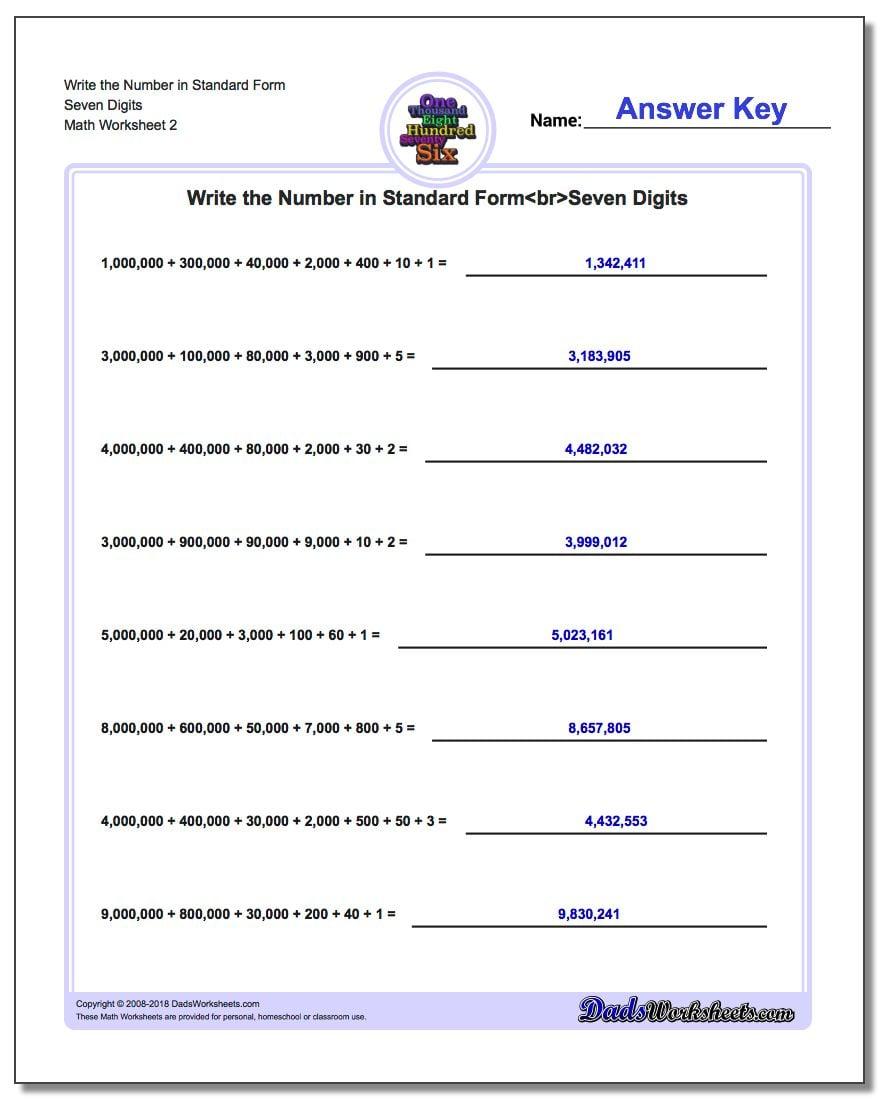 Write the Number in Standard Form Worksheet Seven Digits www.dadsworksheets.com/worksheets/standard-expanded-and-word-form.html