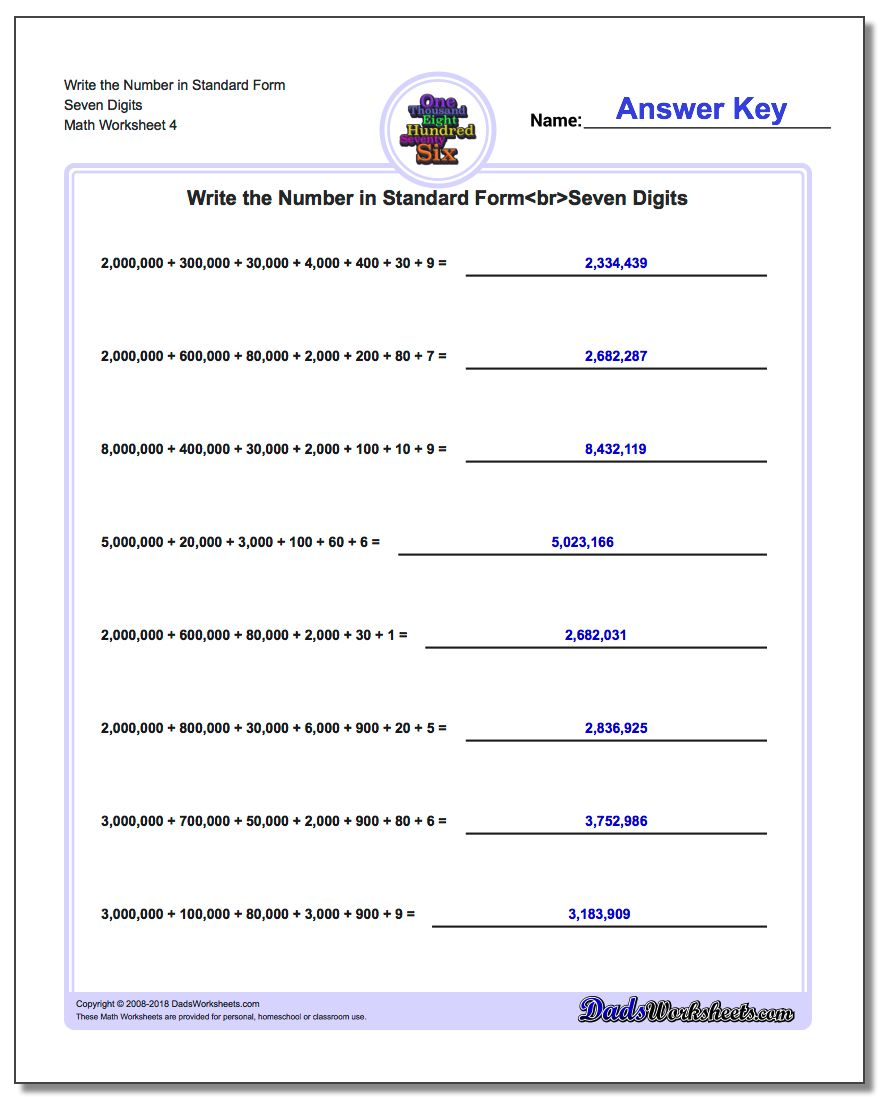 Write the Number in Standard Form Worksheet Seven Digits
