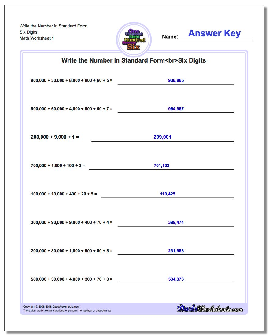math worksheet : write expanded form numbers in standard form : Decimal Expanded Form Worksheets