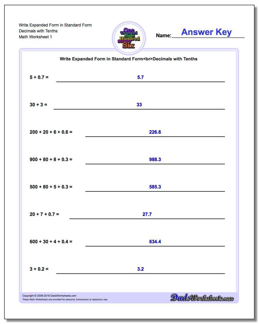 Write Expanded Form Numbers in Standard Form – Standard Form Worksheet