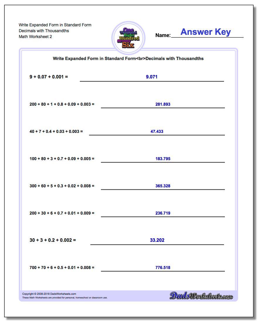 Write Expanded Form Worksheet in Standard Form Decimals with Thousandths www.dadsworksheets.com/worksheets/standard-expanded-and-word-form.html
