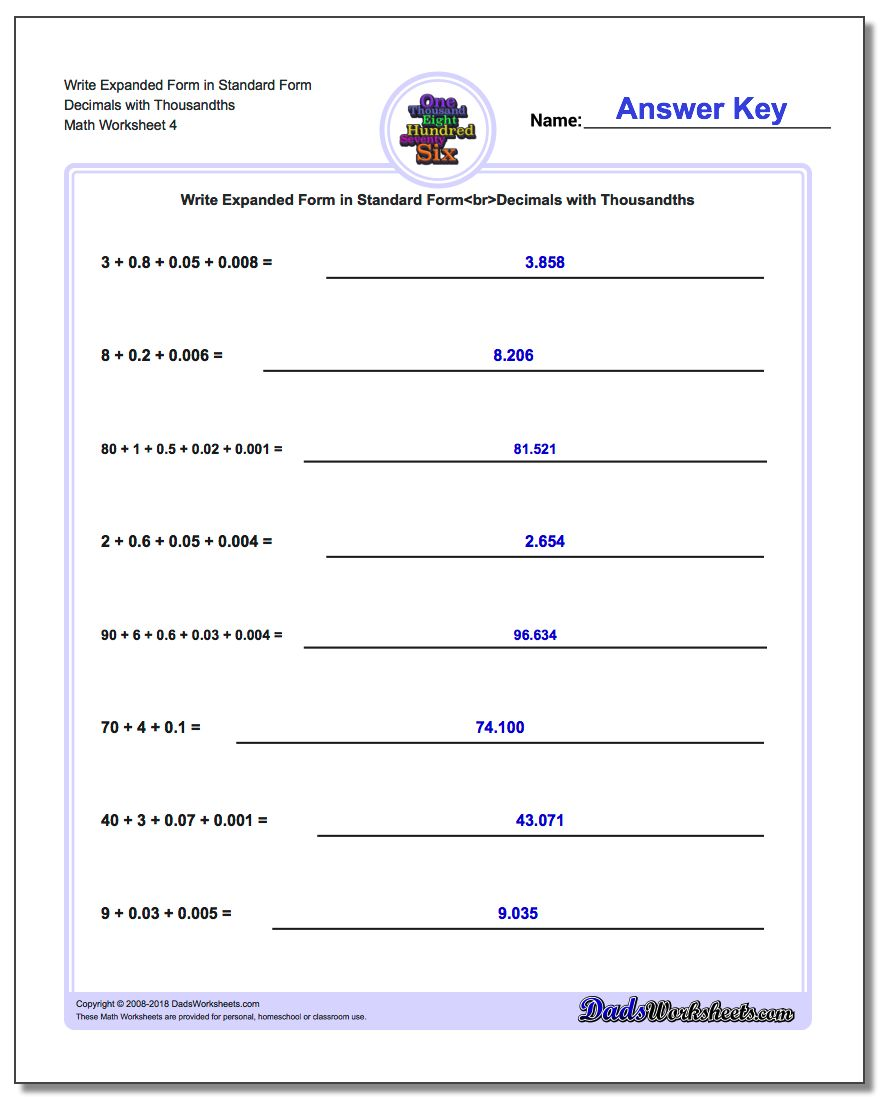 expanded form 74  Write Expanded Form Numbers in Standard Form