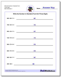 Standard, Expanded and Word Form Worksheet Write the Number in Three Digits