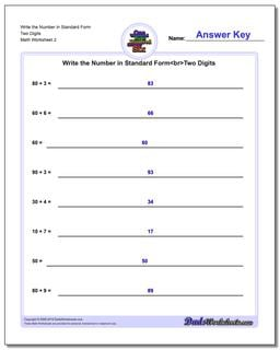 Write the Number in Standard Form Worksheet Two Digits www.dadsworksheets.com/worksheets/standard-expanded-and-word-form.html