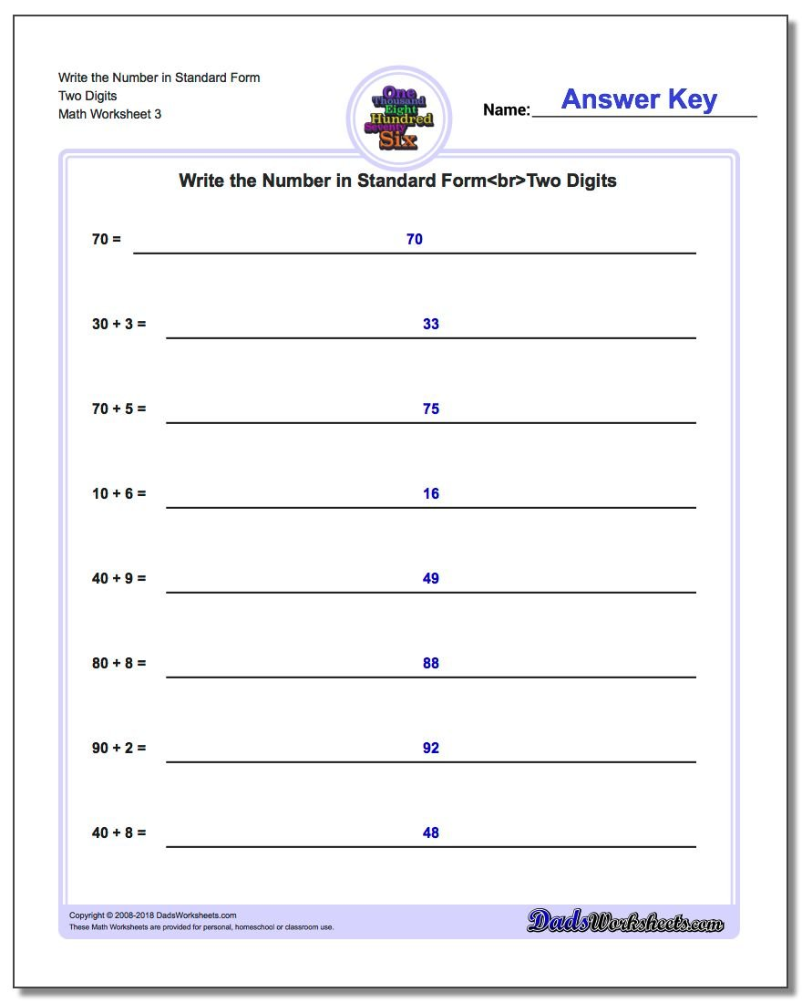 Write Expanded Form Numbers in Standard Form