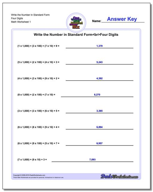 Standard, Expanded and Word Form Worksheets Write the Number in Four Digits