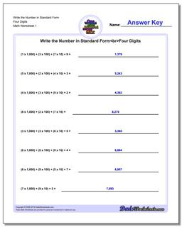 Standard, Expanded and Word Form Worksheet Write the Number in Four Digits